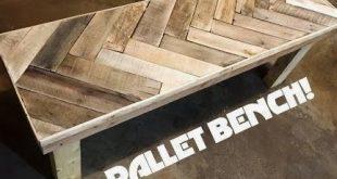 DIY Herring Bone Patterned Pallet Bench!