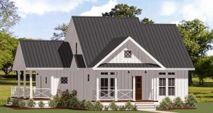 Plan 46367LA: Charming One-Story Two-Bed Farmhouse Plan with Wrap-Around Porch