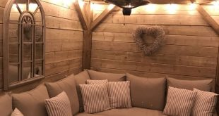 Homemade wooden gazebo, garden lights, outdoor sofa, outdoor seating, alfresco l...
