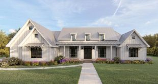 Plan 56442SM: Exclusive Modern Farmhouse Plan with Split Bedroom Layout