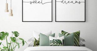 25 + › Über dem Bett Kunst – süße Träume – druckbare Kunst (2er-Set), Schlafzimmer Dekor, skandinavische Kunst, Schlafzimmer Wandkunst Poster