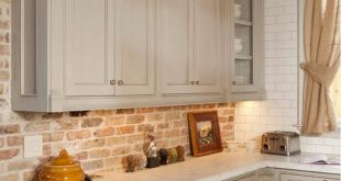 Inspiring white brick backsplash decor. #Kitchen #KitchenDecor #KitchenCabinet #...
