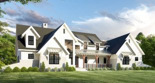 Plan 275006CMM: Exclusive 5-Bed Modern Farmhouse Plan with Unique Angled Garage