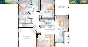Ranch Bungalow house plan, with galley kitchen, open floor plan concept, garage,...
